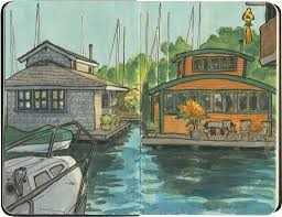 Houseboats In Seattle Boat Sweet Boat Drawn The Road Again