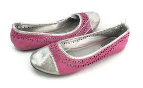 Fab Kids Girls Pink Silver Slip On Round Toe Ballet Flats