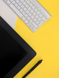 yellow black design studio 4k wallpaper