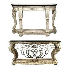 Mactan Stone Console Table Massive Ornate Cast Forged Iron Burnished From The House