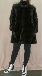 fur coat short fur coat mink skanblack poperechka with a rack greek