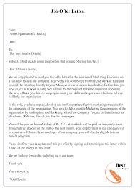 Job Offer Letter 01 Best Letter Template