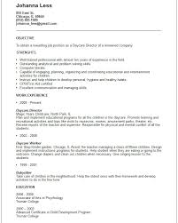 resume for daycare worker