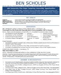 Film Industry Internship Resume
