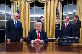 president in oval office. us president donald trump c speaks to the press in oval office