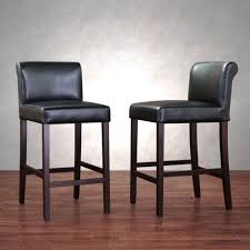 details about set of 2 black leather barstools bar stools kitchen stool deep seat chairs