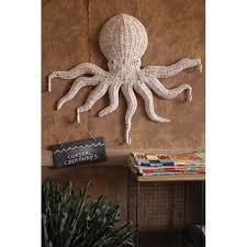 amazing octopus wall art wicker hanging with 5 hook hobby lobby wood metal target uk bathroom canada