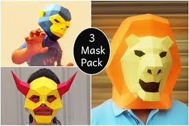diy paper mask pack 3d papercraft example image 1