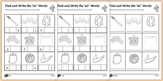 Year 2 phonic lesson 1 ear air ure and er. Air Words Differentiated Worksheet Phonemes Air Worksheet