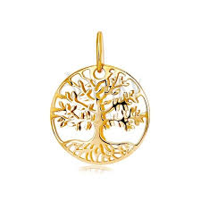 yellow 585 gold pendant circle with engraved tree of life