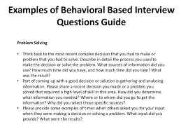 Examples Of Behavioral Interview Questions Behavioral Based Interview Question Under Fontanacountryinn Com