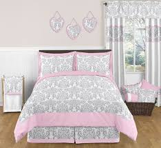 pink gray and white elizabeth childrens and kids bedding 3pc full queen set
