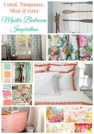 Mint and coral Grey Coral Turqouise Mint And Grey Master Bedroom Inspiration The Happy Housie Coral Turquoise Mint Grey Master Bedroom Inspiration