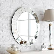 Decorations:Nice Looking Decorative Round Wall Mirrors Design With Chrome  Frame On White Vintage Brick
