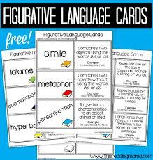 Figurative Language Chart Printable Figurative Language Scavenger Hunt Through Text