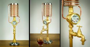 completely handmade steampunk dispenser with a working meter for whiskey liquor or other drinks