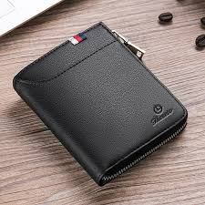 men zipper leather wallet with external card slot