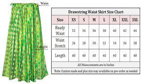 Handmade Skirt Size Chart Green Color Umbrella Cut Spiral Design Womens Lehenga