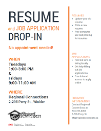 Help With Job Application Resume Job Application Drop In Sessions Regional Connections