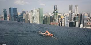 infinity pool singapore dangerous. Don\u0027t Look Down: A Guest Swims In The Infinity Pool Of Skypark Singapore Dangerous