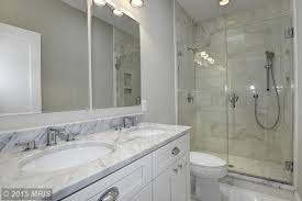 gray bathroom with white cabinets. 3 tags contemporary 3/4 bathroom with double sink, flush, calacatta gold marble, ms gray white cabinets e