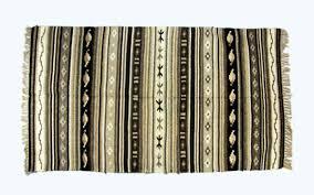black white rug striped carpet kilim rug hand knotted wov