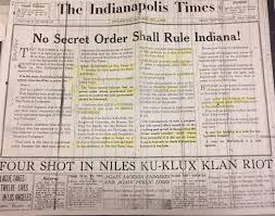 kkk research paper newspaper histories hoosier state chronicles na  newspaper histories hoosier state chronicles na s digital this front page editorial explains the times dedication