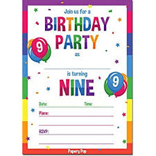 kids birthday party invitations papery pop 9th birthday party invitations with envelopes 15 count 9 year old kids birthday invitations for boys or girls rainbow
