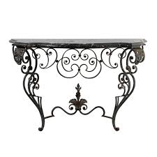 iron console table. French 1920s Wrought-Iron Console Table With Curvy Base And Black Marble Top For Sale Iron
