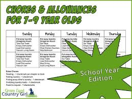 Chores Allowances For 7 9 Year Olds School Year Edition