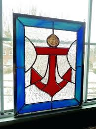 nautical stained glass windows anchor panel decor beach ocean window by cling