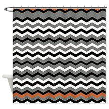 gray and white chevron shower curtain. orange black white gray chevron and shower curtain
