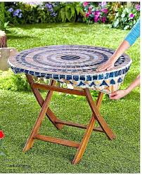 round patio tablecloth with umbrella hole 48 inch square fitted outdoor
