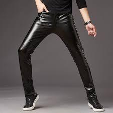 mens leather pants mens self cultivation locomotive black skinny pants men tight korean tide motorcycle