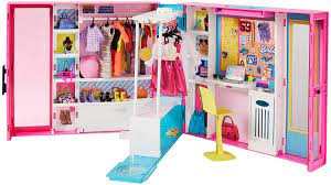 Barbie Dream Closet With 30 Pieces Toy Closet Features 10 Storage Areas Full Length Mirror Includes 5 Outfits Gift For Kids 3 To 7 Years Old Pink Toys Games
