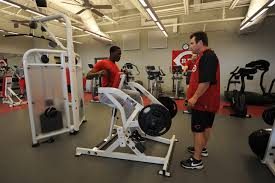 aroldis chapman of the cincinnati reds works out in the weight room prior to a game
