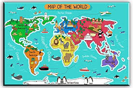 world map canvas wall art for kids room typical animals on continent map of the on toddler canvas wall art with amazon world map canvas wall art for kids room typical animals