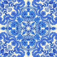 Blue And White China Pattern Unique Cobalt Blue China White Folk Art Pattern Fabric Micklyn
