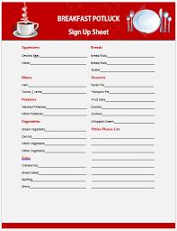 Potluck Sign Up Breakfast Sign Up Sheet Template Rome Fontanacountryinn Com