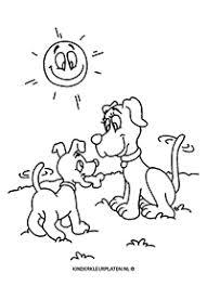 Kleurplaat Hond Kat Feestje Taart Dieren
