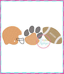 Sketch Stitch Football Tiger Paw Embroidery