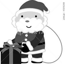 サンタクロース かわいい クリスマス 12月 白黒のイラスト素材 45856266