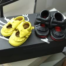 Yellow Red Bottom Leather Moccasins Baby