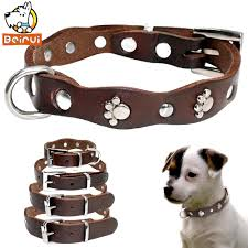2019 genuine leather dog collar soft adjustable studded pet collars for small medium dogs cats pitbull brown color s xs s m from qiangweiflo