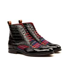 custom made military brogue boot in black croco embossed leather cognac box calf black patent leather and tartan sartorial