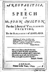 john milton  title page of john milton s 1644 edition of areopagitica
