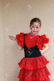 lovely slim with a spectacular make up dancing flamenco stock photo 7307000