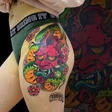 тату япония змея маска татунабедре татумодель эскиз рисунок