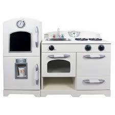 White Appliance Kitchen Teamson Kids Retro Wooden Play Kitchen With Refrigerator
