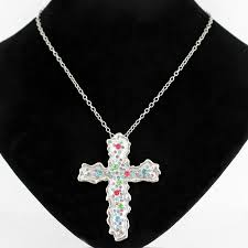 necklace 20 inch silver chain with artistic silver cross adjustable pendant charm multicolor stone accent magnetic clasp lead compliant